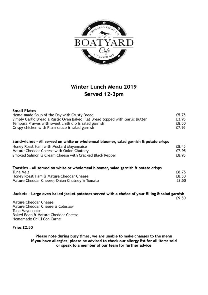 BYC MENU - winter week day